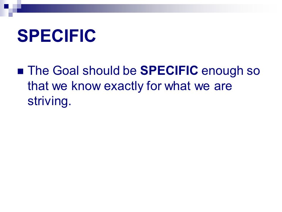 SPECIFIC The Goal should be SPECIFIC enough so that we know exactly for what we are striving.
