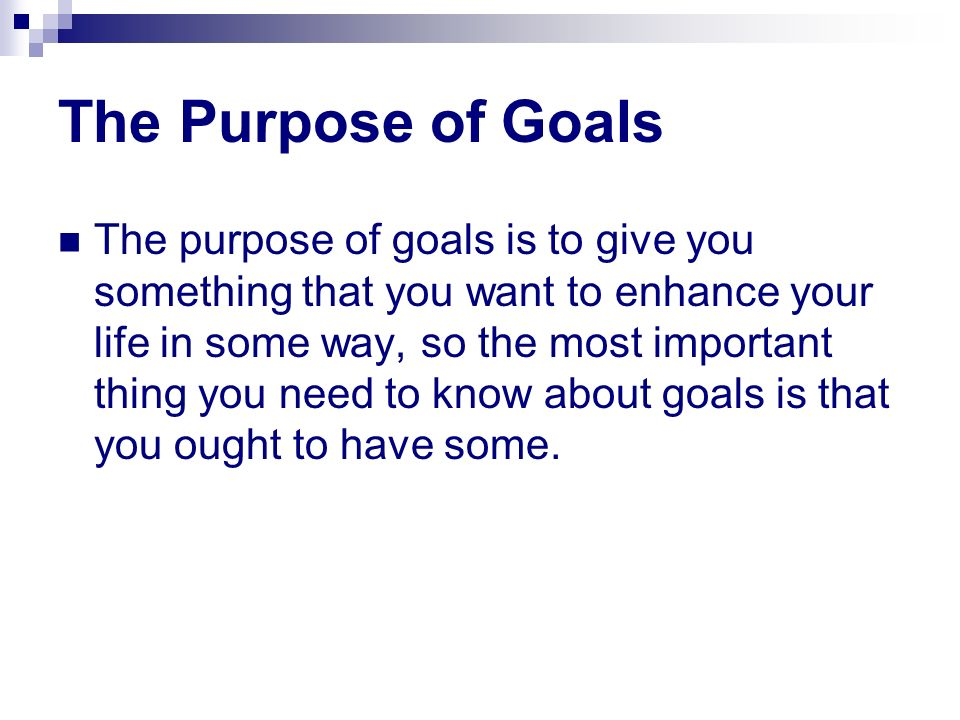 what is one important goal you Goal setting: why should i set goals  one important reason goal setters achieve such outstanding results is that they have learned how to focus and concentrate .