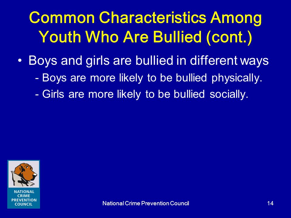 Common Characteristics Among Youth Who Are Bullied (cont.)