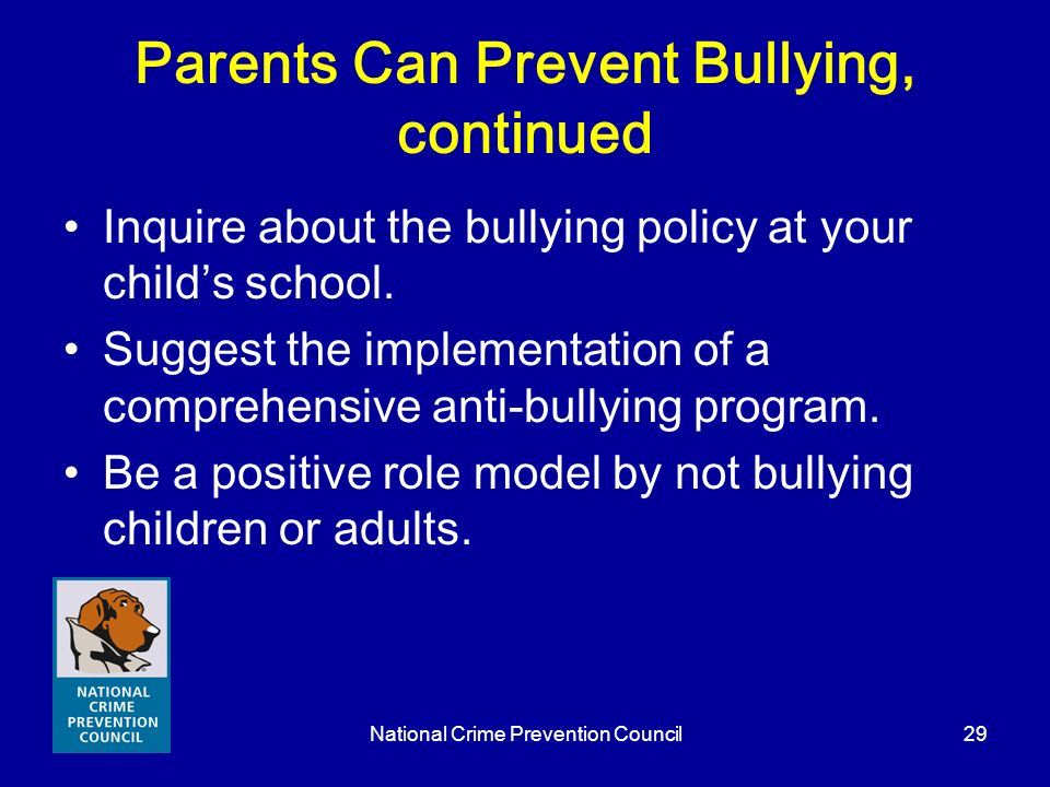 Parents Can Prevent Bullying, continued