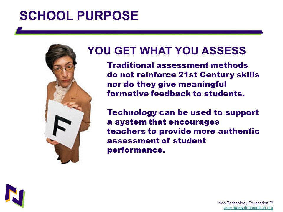 SCHOOL PURPOSE YOU GET WHAT YOU ASSESS
