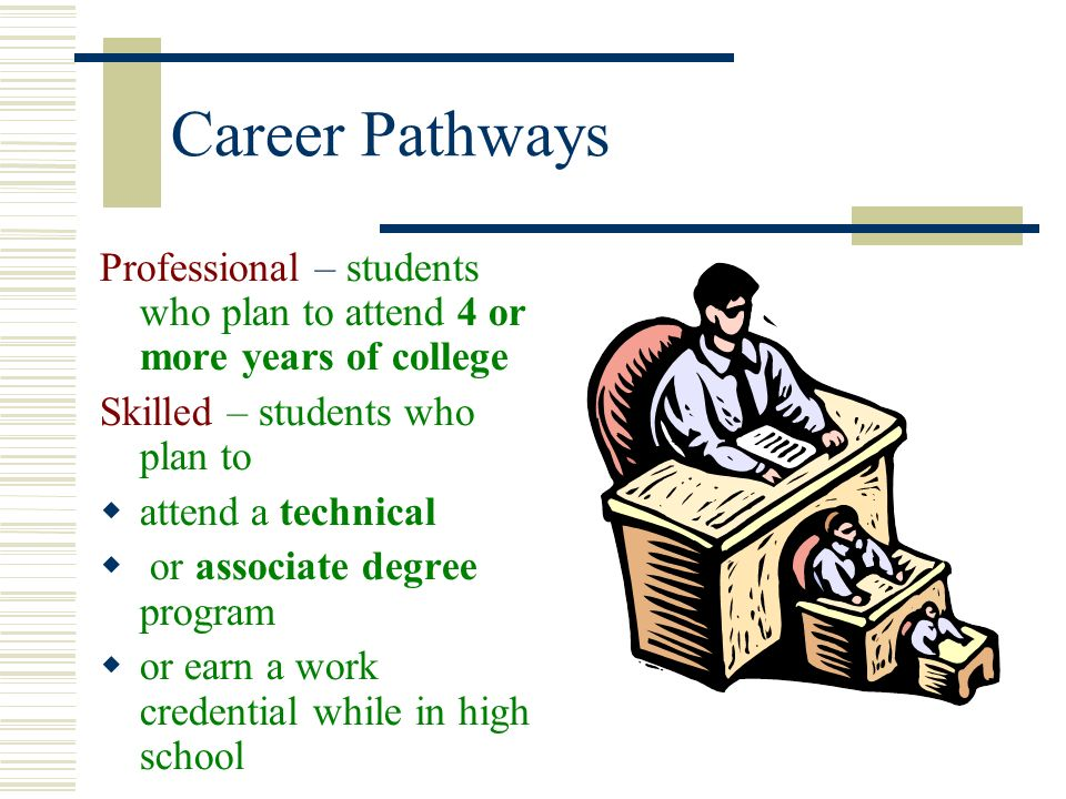 Career Pathways Professional – students who plan to attend 4 or more years of college. Skilled – students who plan to.