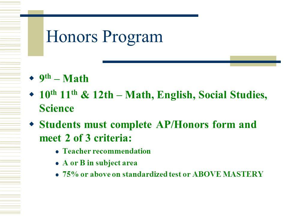 Honors Program 9th – Math