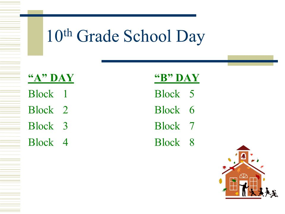 10th Grade School Day A DAY Block 1 Block 2 Block 3 Block 4 B DAY