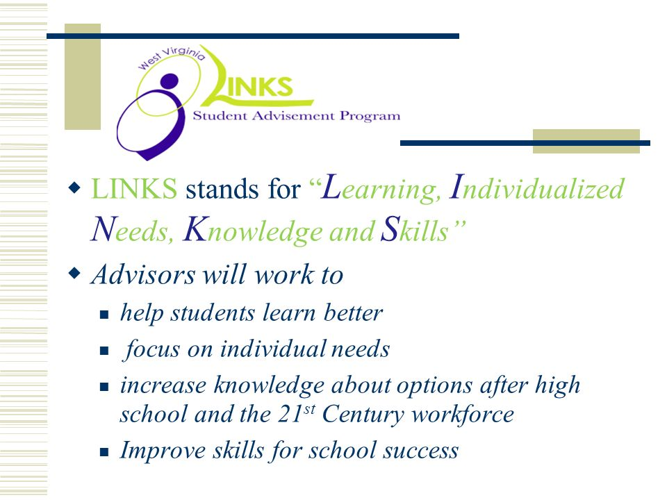 . LINKS stands for Learning, Individualized Needs, Knowledge and Skills Advisors will work to. help students learn better.