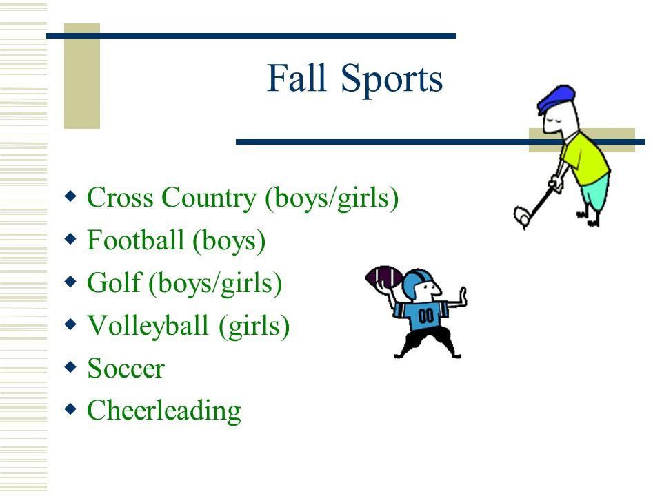 Fall Sports Cross Country (boys/girls) Football (boys)