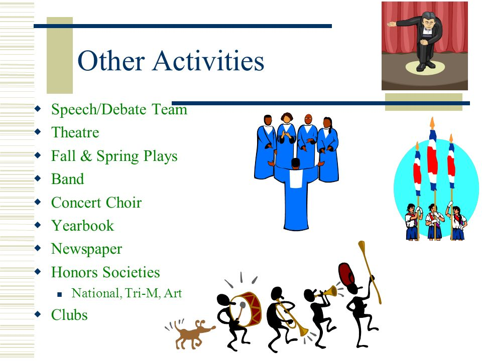Other Activities Speech/Debate Team Theatre Fall & Spring Plays Band
