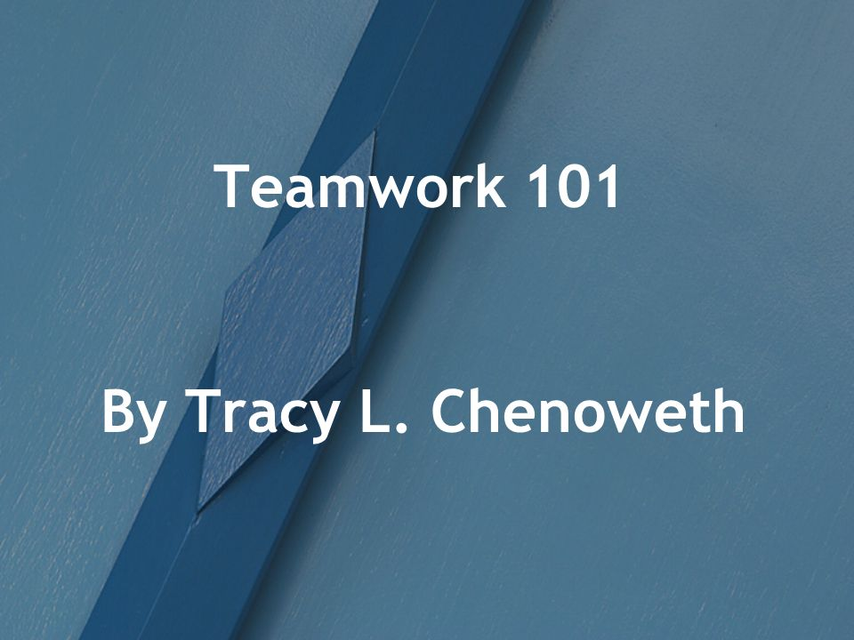 Teamwork 101 By Tracy L. Chenoweth