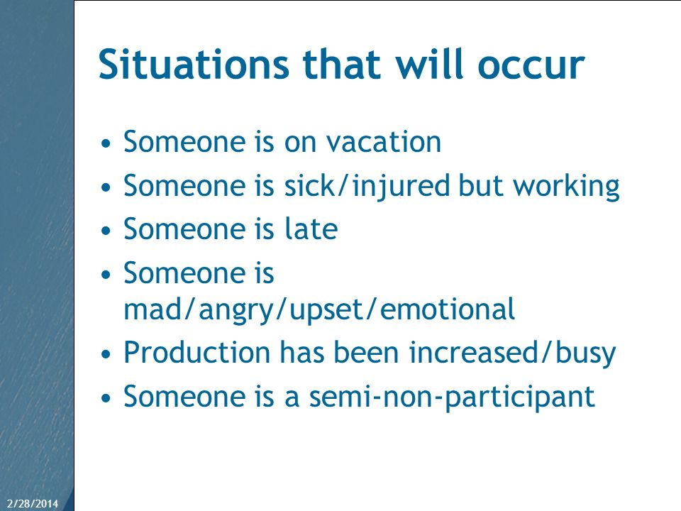 Situations that will occur