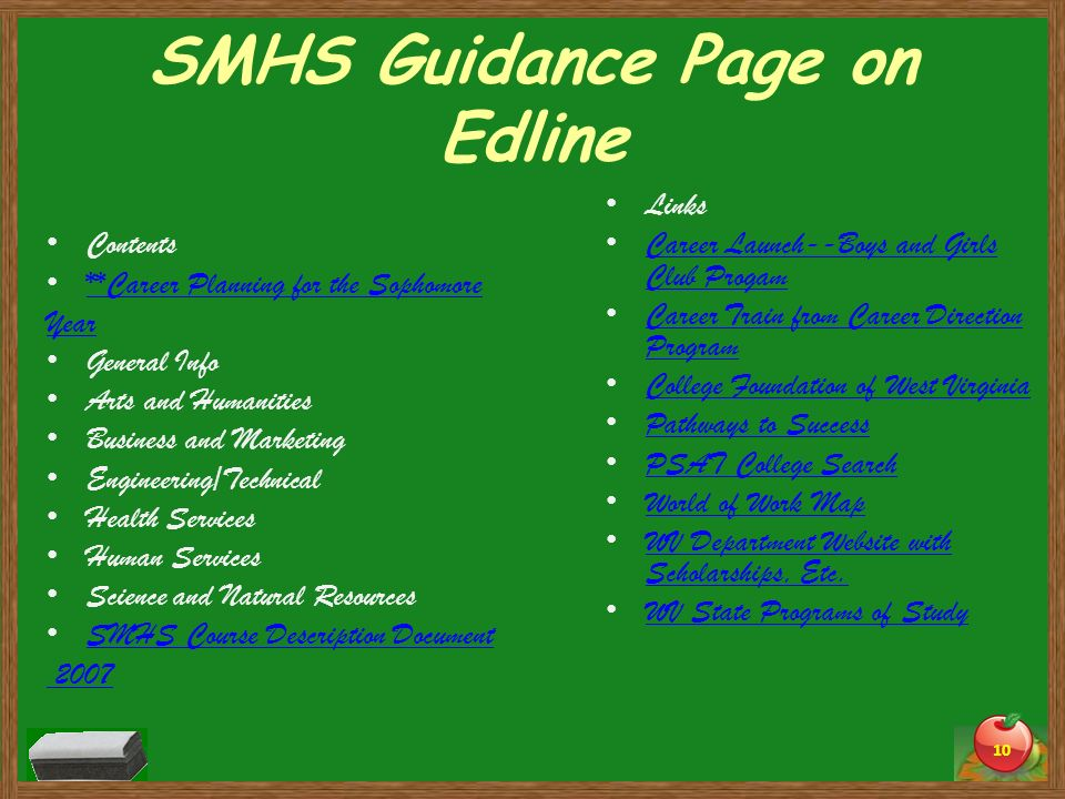 SMHS Guidance Page on Edline
