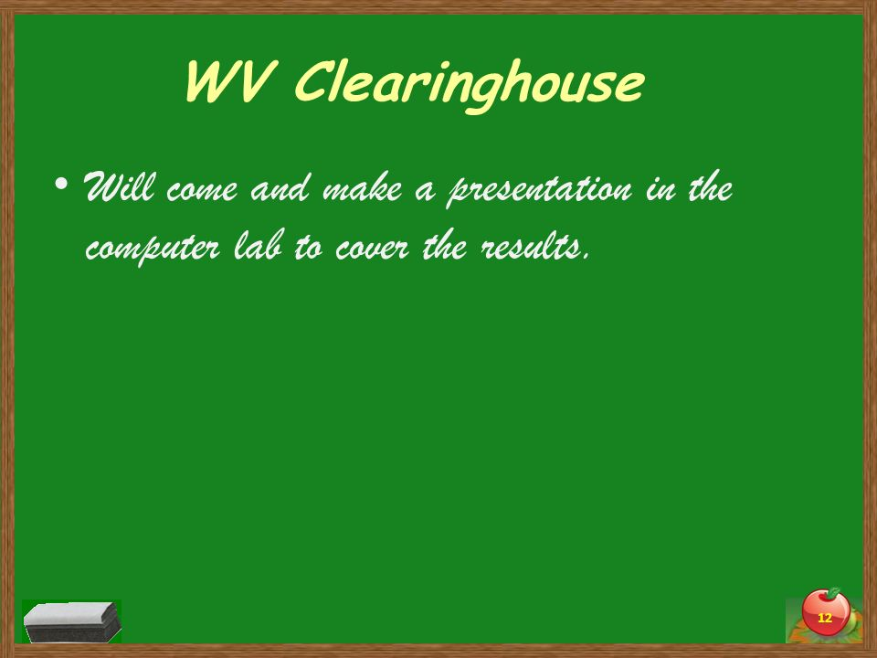 WV Clearinghouse Will come and make a presentation in the computer lab to cover the results.