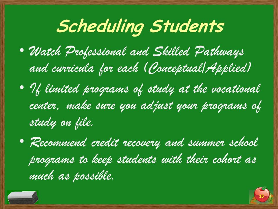 Scheduling Students Watch Professional and Skilled Pathways and curricula for each (Conceptual/Applied)