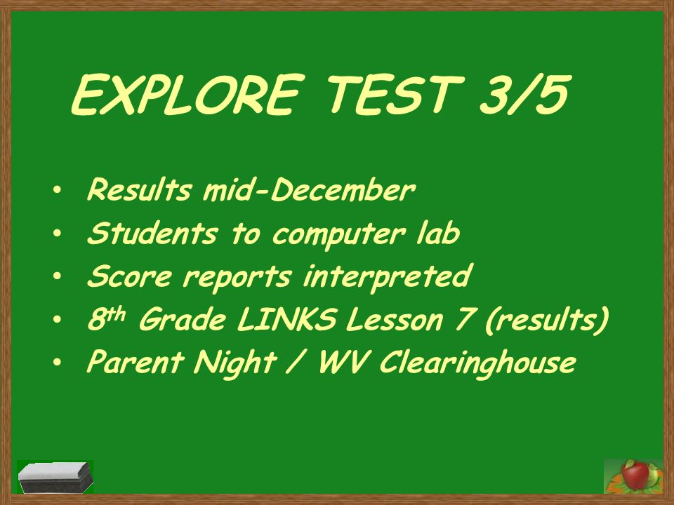 EXPLORE TEST 3/5 Results mid-December Students to computer lab