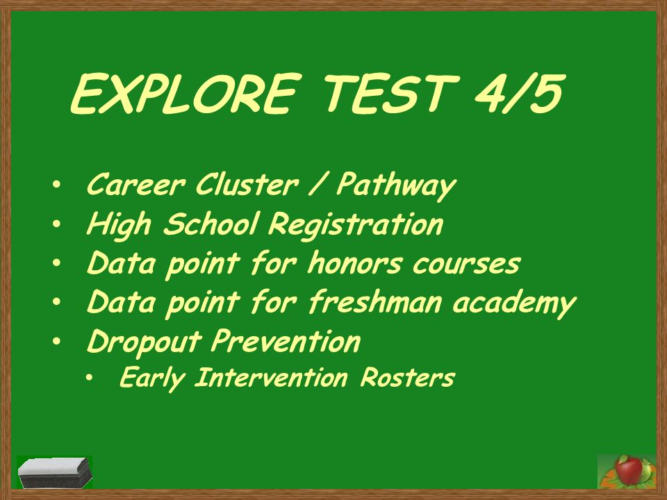 EXPLORE TEST 4/5 Career Cluster / Pathway High School Registration