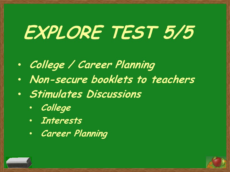 EXPLORE TEST 5/5 College / Career Planning
