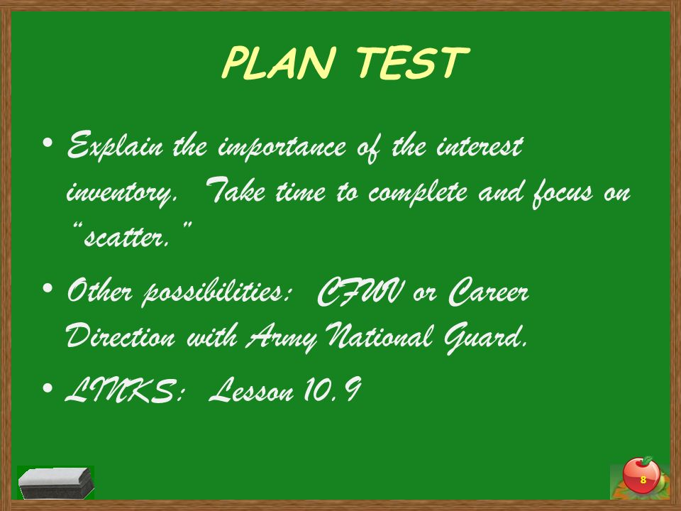 PLAN TEST Explain the importance of the interest inventory. Take time to complete and focus on scatter.