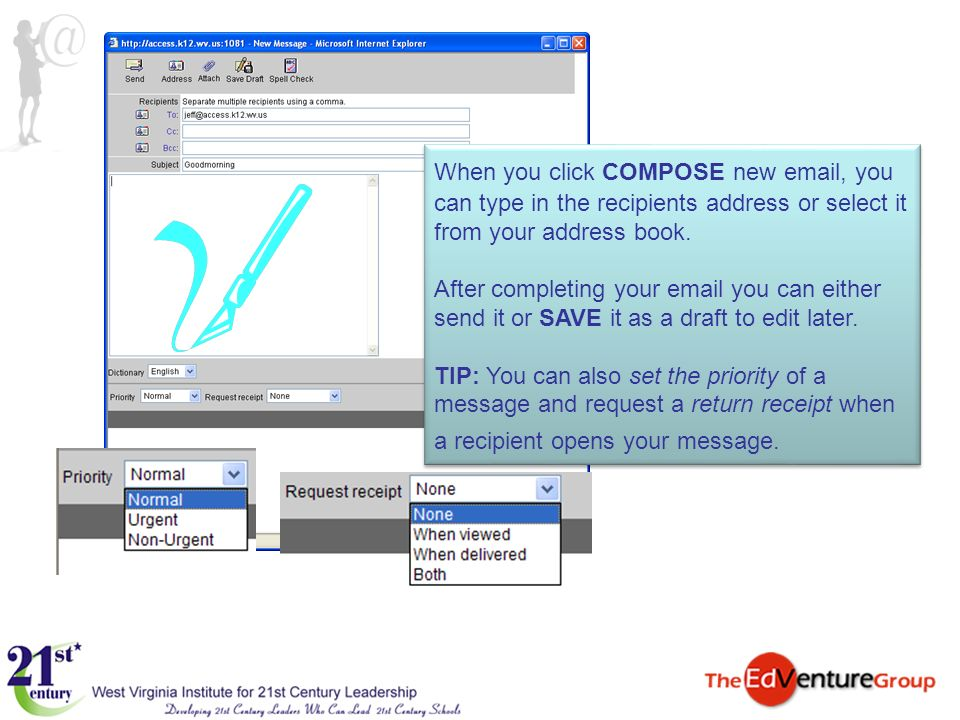 When you click COMPOSE new email, you can type in the recipients address or select it from your address book.