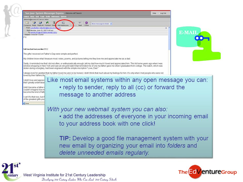 Like most email systems within any open message you can: