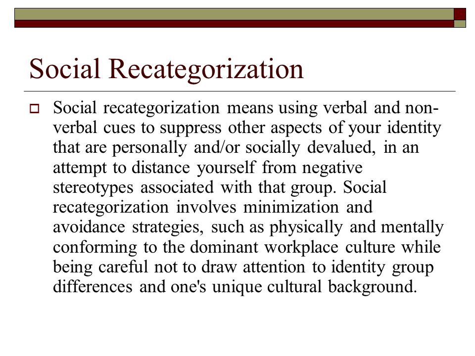 Social Recategorization