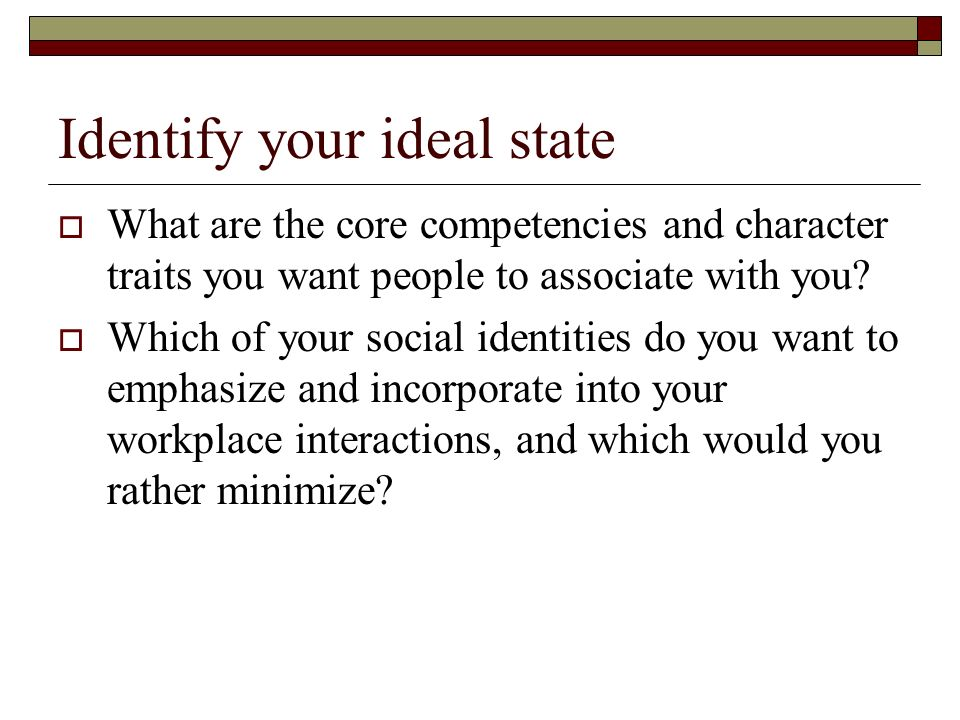 Identify your ideal state