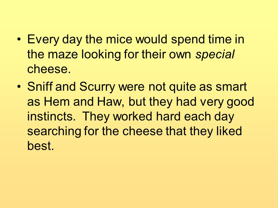 Every day the mice would spend time in the maze looking for their own special cheese.