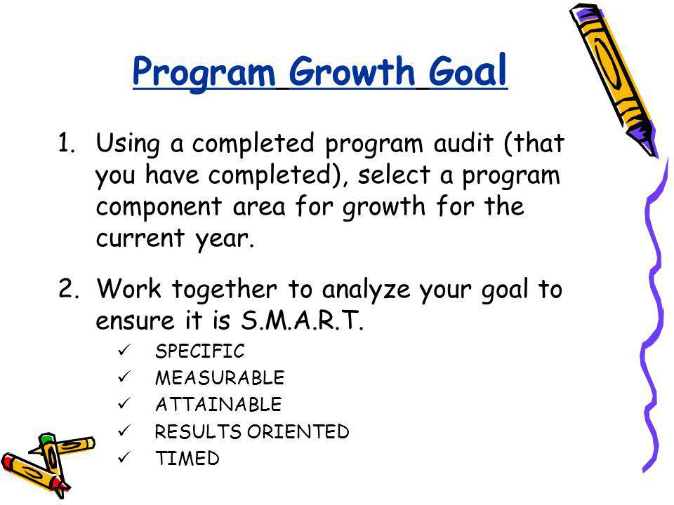 Program Growth Goal Using a completed program audit (that you have completed), select a program component area for growth for the current year.