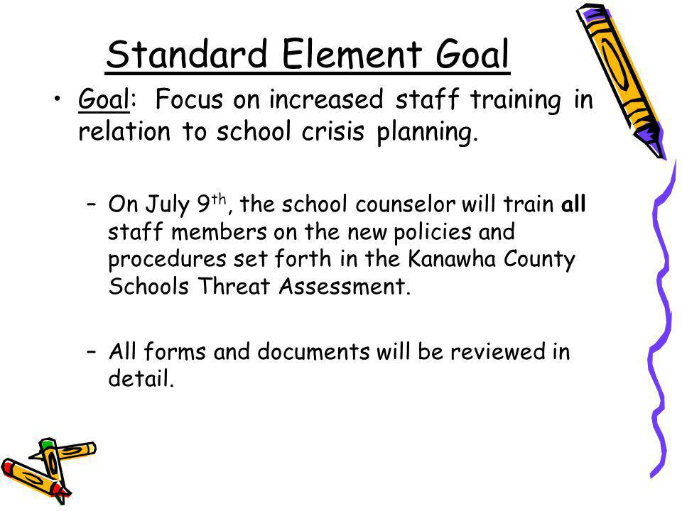 Standard Element Goal Goal: Focus on increased staff training in relation to school crisis planning.