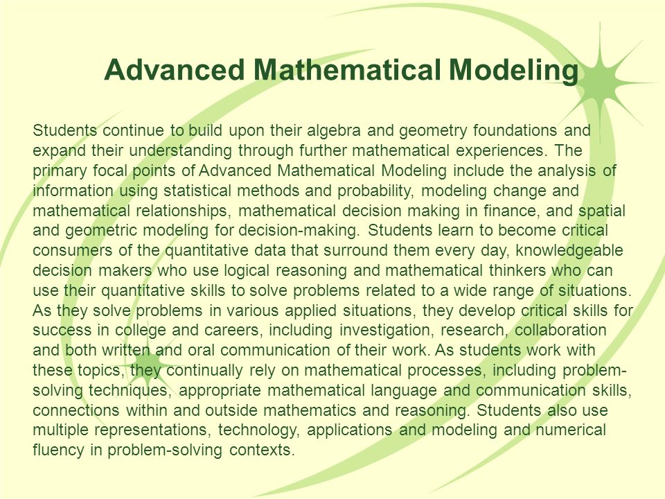 Advanced Mathematical Modeling