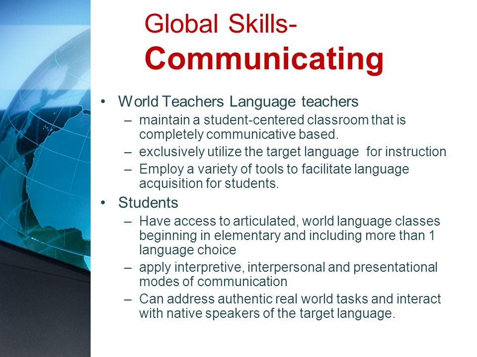 Global Skills- Communicating