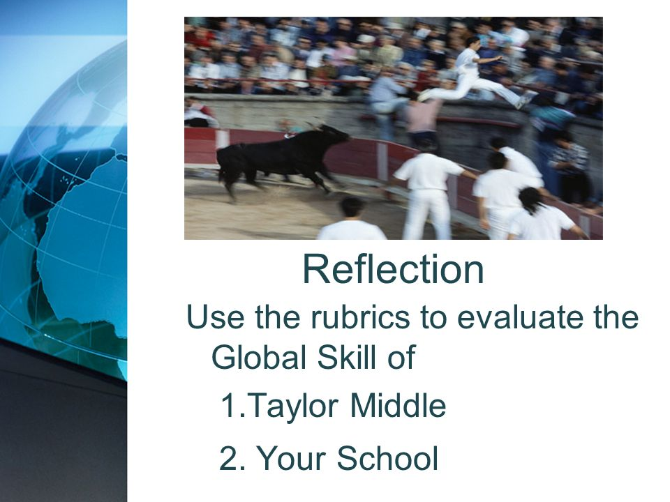 Reflection Use the rubrics to evaluate the Global Skill of 1.Taylor Middle 2. Your School