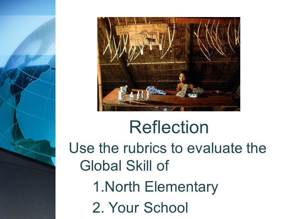 Reflection Use the rubrics to evaluate the Global Skill of 1.North Elementary 2. Your School