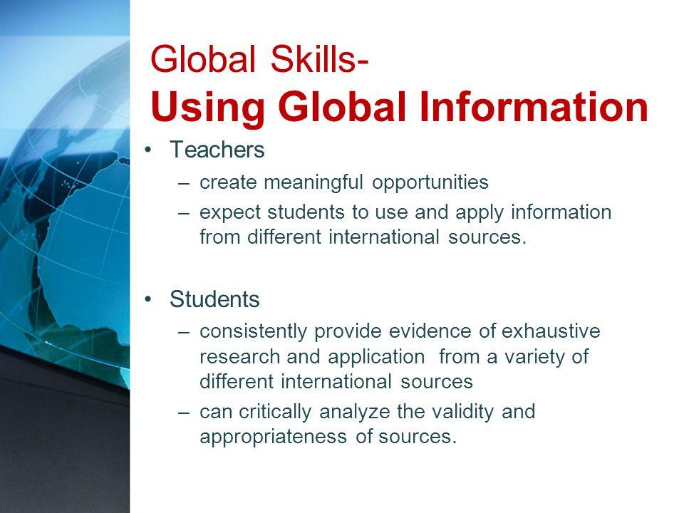 Global Skills- Using Global Information