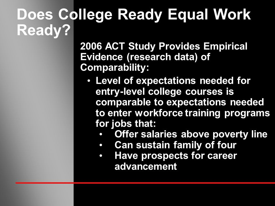Does College Ready Equal Work Ready