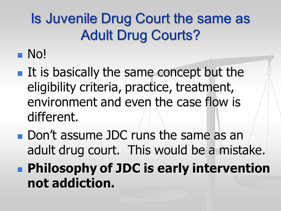 Is Juvenile Drug Court the same as Adult Drug Courts