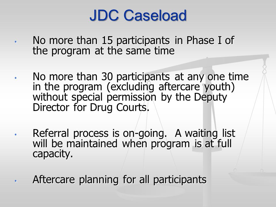 JDC Caseload No more than 15 participants in Phase I of the program at the same time.