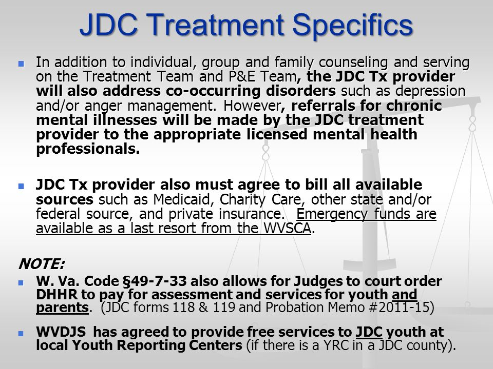 JDC Treatment Specifics