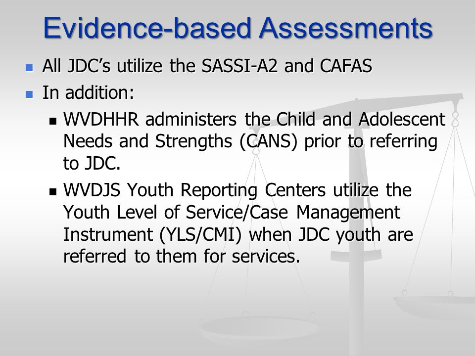 Evidence-based Assessments
