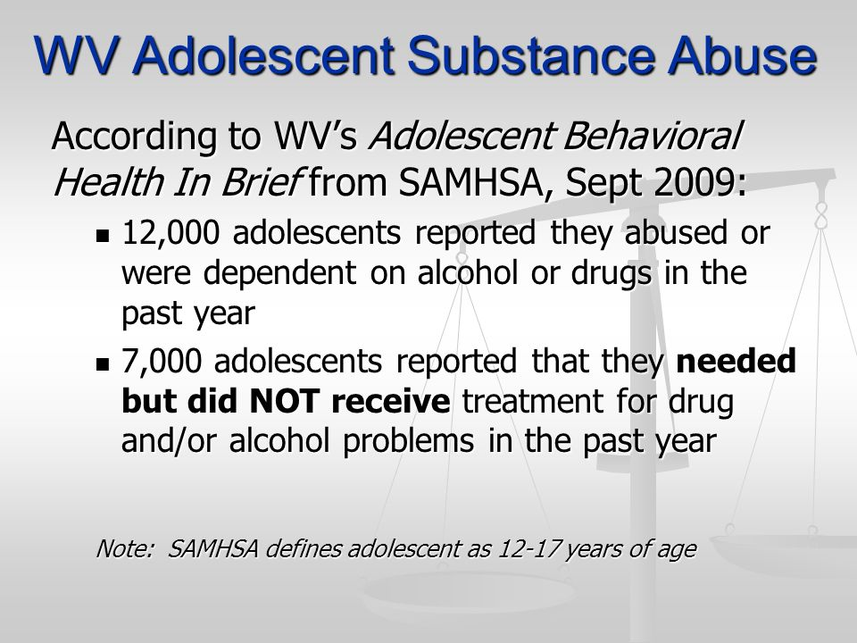 WV Adolescent Substance Abuse