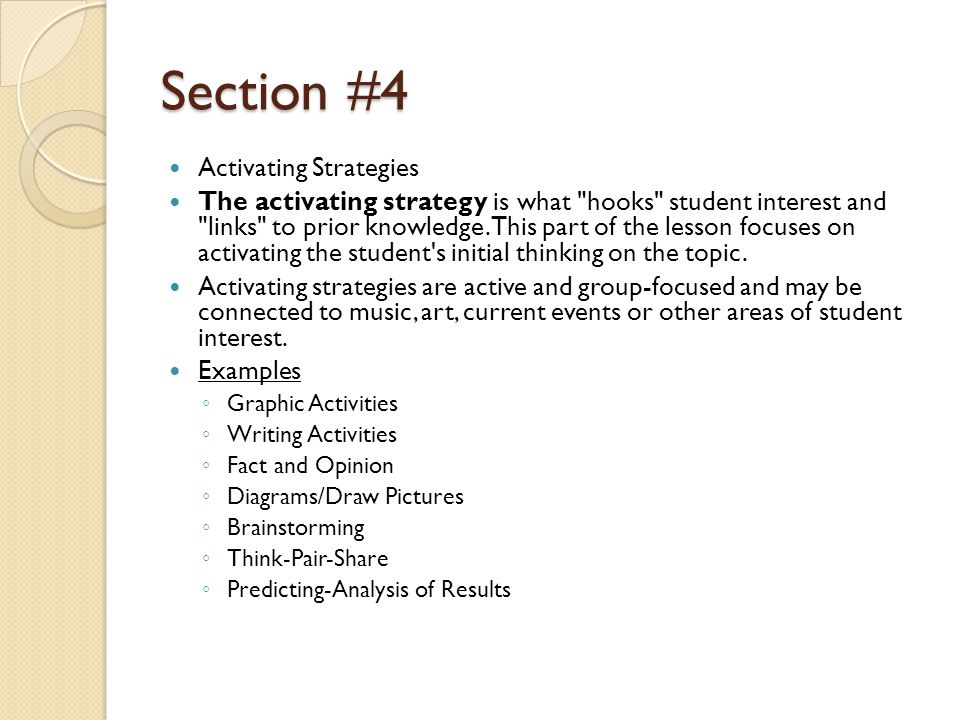 Section #4 Activating Strategies