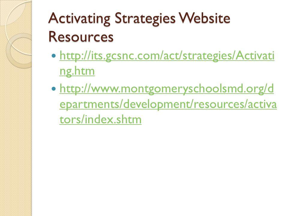 Activating Strategies Website Resources