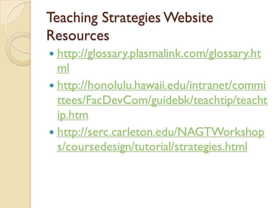 Teaching Strategies Website Resources