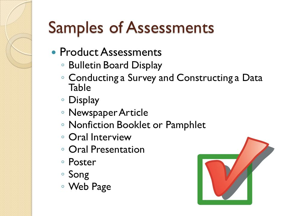 Samples of Assessments
