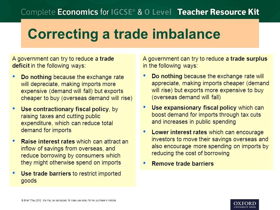 Correcting a trade imbalance