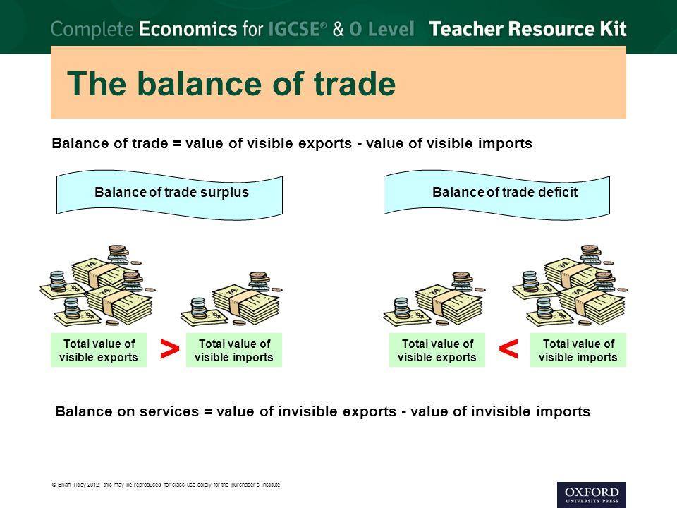 > < The balance of trade