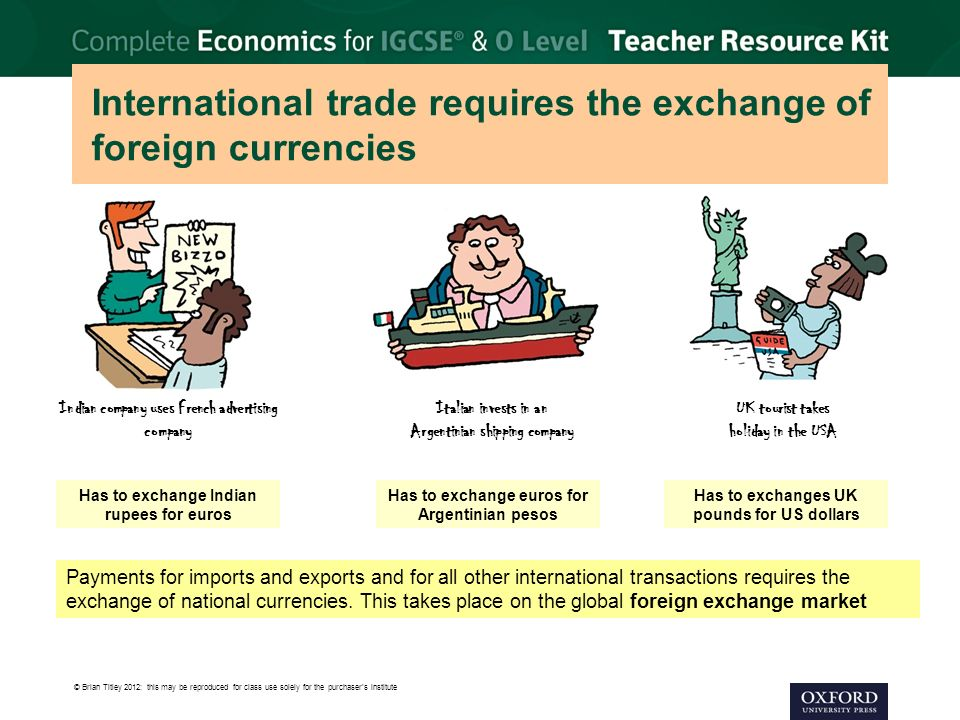 International trade requires the exchange of foreign currencies