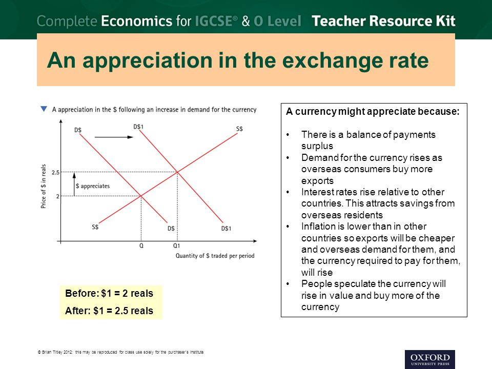 An appreciation in the exchange rate