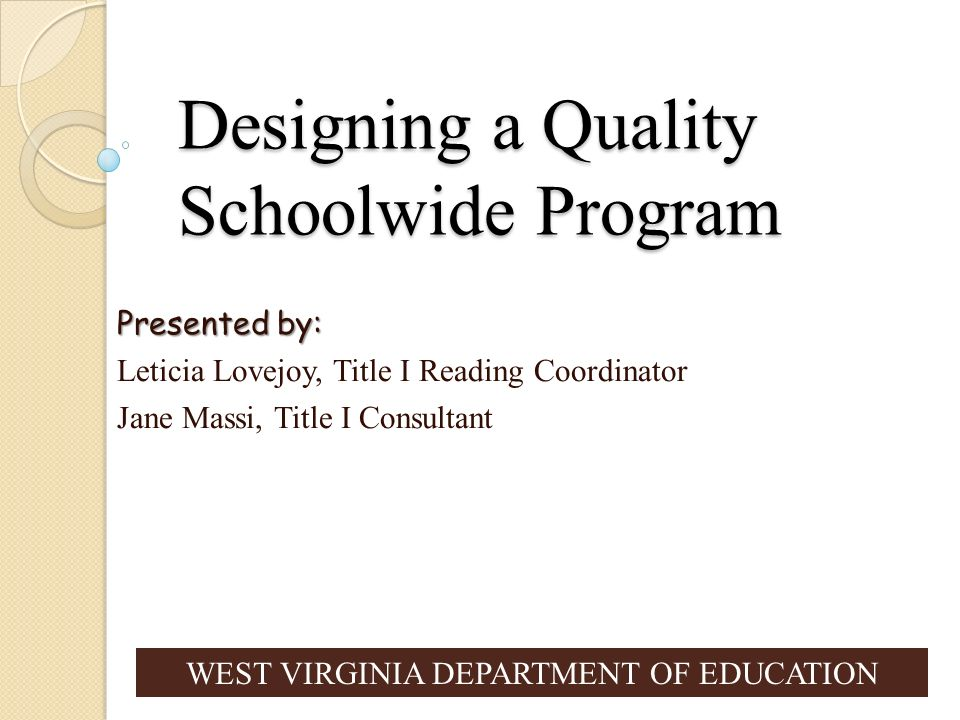 Designing a Quality Schoolwide Program