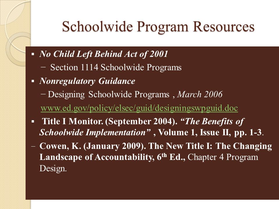 Schoolwide Program Resources