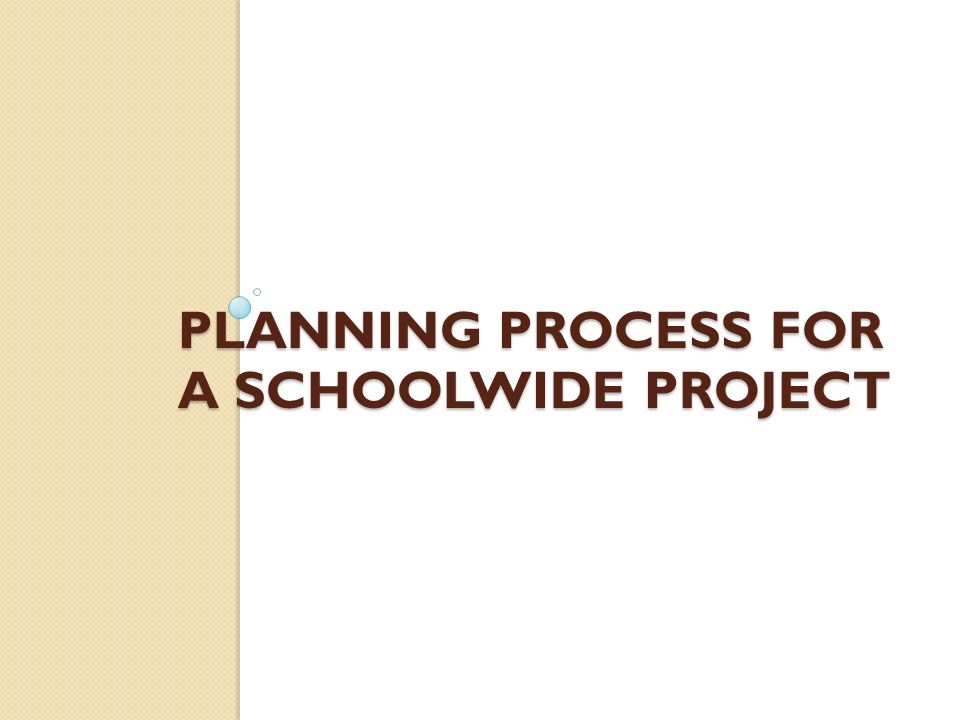 Planning process for a schoolwide project