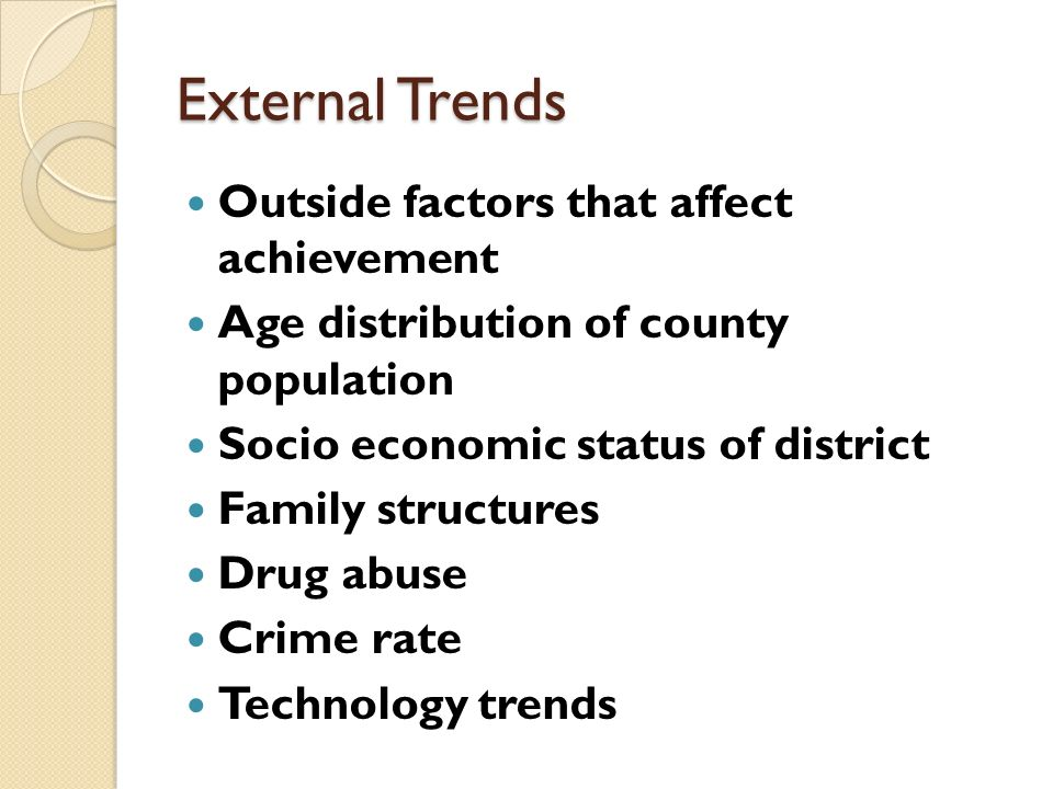 External Trends Outside factors that affect achievement